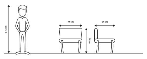 diagrama medidas sillon deco