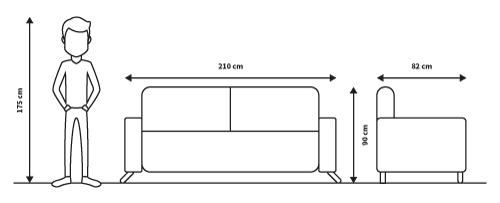 diagrama medidas sofa cama cooper