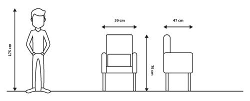 diagramas medidas sillón deco mayoral