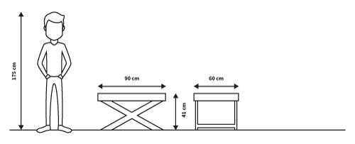diagrama medidas mesa torino