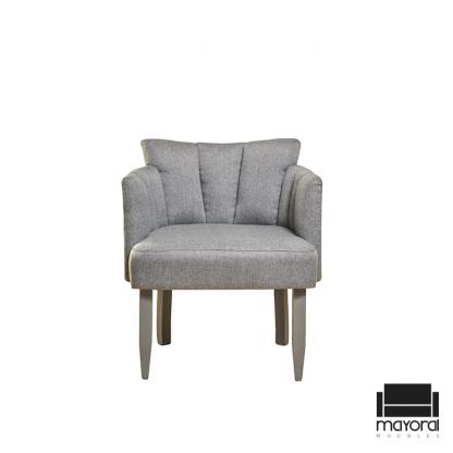 Sillón gris decorativo gaia, silla cómoda, silla decorativa