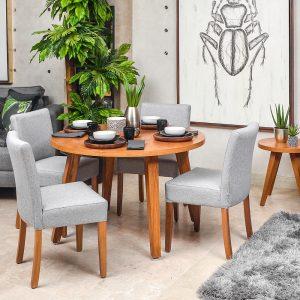 Comedor con 4 sillas gris