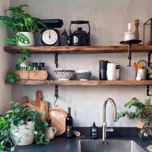 Repisas en cocina con platos y plantas