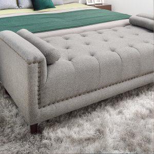 pie de cama gris